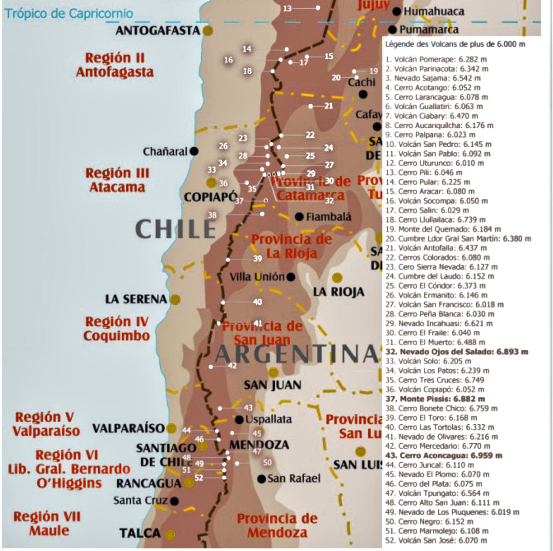 Carte des sommets de plus de 6 000 m dans les Andes, Chili & Argentine